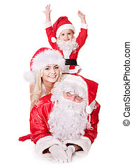 Santa claus family with child.