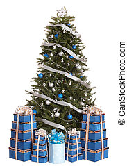 Christmas tree with silver ,blue ball,  gift box group.