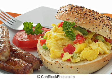 Breakfast Bagel - Delicious breakfast bagel with egg and...