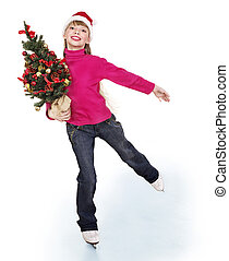 Young girl figure skating. - Happy young girl figure skating...
