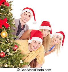 Group young people in santa hat.