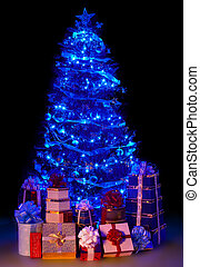 Christmas tree with light and group gift box Black...