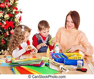 Kids making decoration for Christmas. - Children boy and...