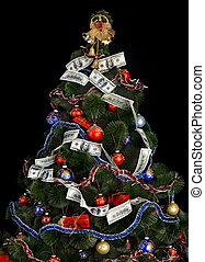 Christmas tree with money dollar garland. Black background.