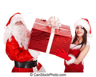 Santa claus and christmas girl with big gift box. Isolated.
