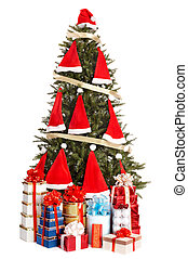 Christmas tree with Santa hat and group gift box.