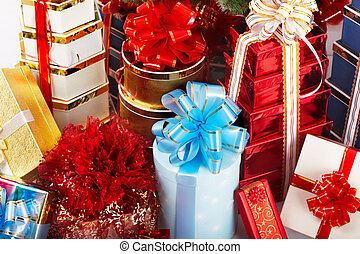 Group of christmas gift box.