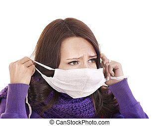 Sick girl in medical mask. - Sick young woman in medical...