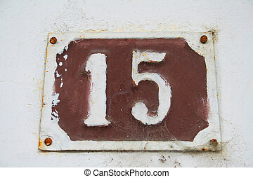 Number 15 - House address plate number 15