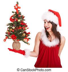 mão, árvore,  santa, pequeno, menina, chapéu, Natal