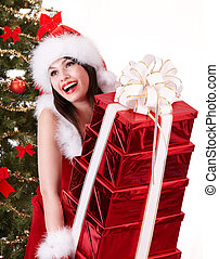 Christmas girl and fir tree with red gift box group. -...