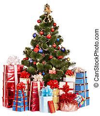 baum, kasten, Gruppe, Weihnachten, Geschenk