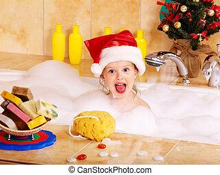 niño, lavado, baño