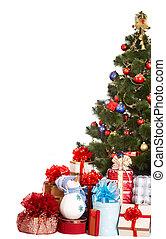Christmas tree,  group gift box and snowman.