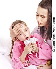 Sick child with mother. Isolated. - Sick little girl with...