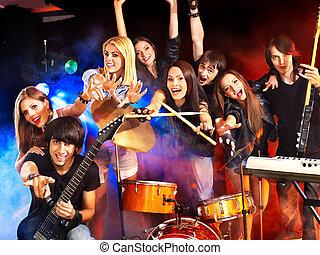 banda, juego, musical, Instrumento