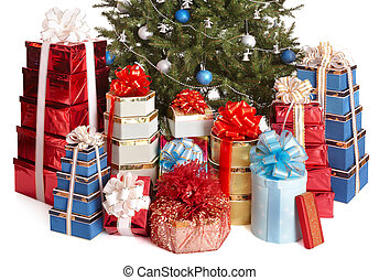 Group gift box, christmas tree with silver ,blue ball.