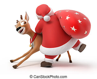 Santa on the way, 3d image with work path
