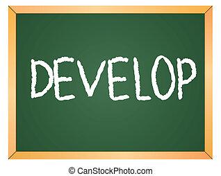 develop word on chalkboard