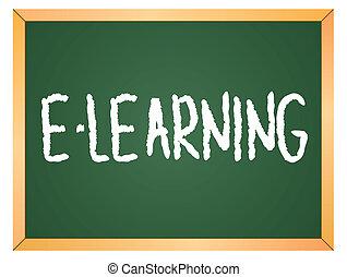 e-learning word on chalkboard