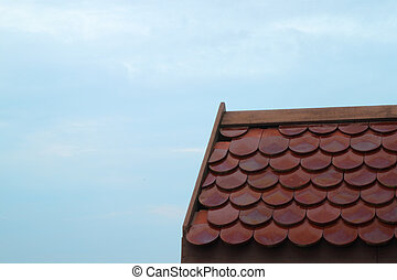 tile roof and sky backgroud on cloudy day