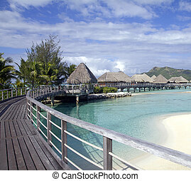 bora bora resort - luxury resort over the turquoise lagoon