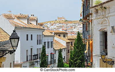 Spanish white town Antequera - Malaga is sprinkled liberally...