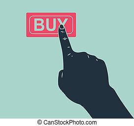 hand pushing buy button