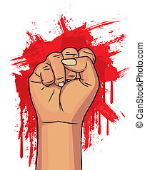 hand with blood background