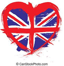 corazón, forma, inglaterra, bandera