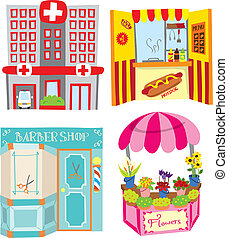 store and building illustration -...