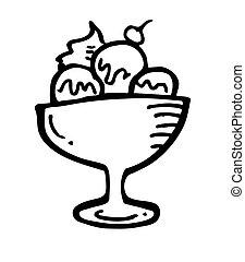 tazón, hielo, crema