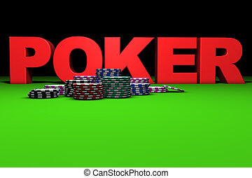 Red Poker Sign - 3d rendering of red poker sign and colored...