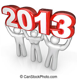 People Celebrate New Years Eve Lift 2013 Year Number - A...