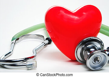 Cardiology - A red heart shape and a medical stethoscope.