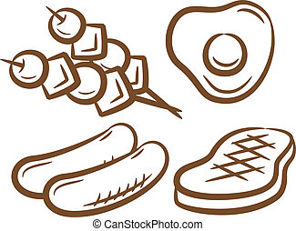 set of barbeque food icon