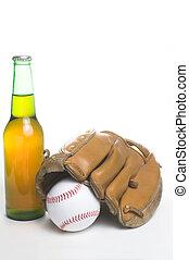 Baseball, Mitt and Beer - A baseball, mitt and a bottle of...