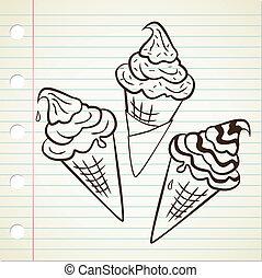 set of ice cream cone