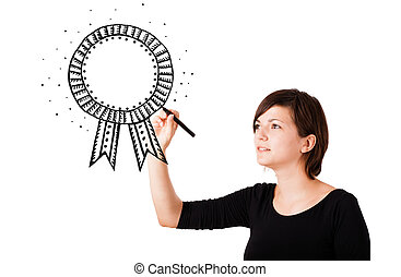 Young woman drawing a ribbon on whiteboard