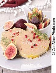 fatia, foie, gras, figo