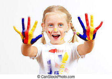 happy child with paint on the hands - little child with...