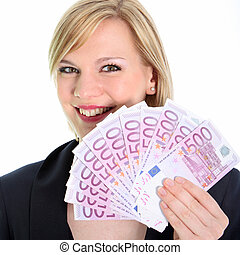 Smiling Blonde Woman Holding 500 Euro Notes - Beautiful...
