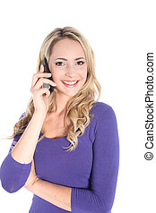 Friendly Young Blonde Woman with Cell Phone - Beautiful...