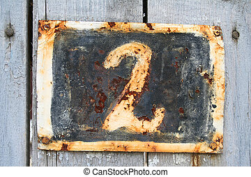 Number 2 - House address plate number 2