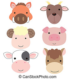 cute animal head icon05 - six cute cartoon animal head icons