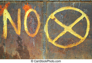 No Parking - Handpainted no parking sign on rusty metal