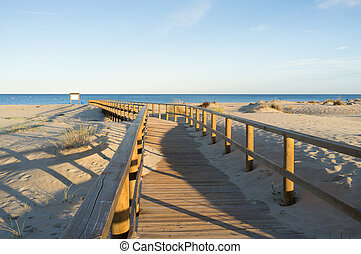 Walkway through dunes - A stilted walkway through the duens...