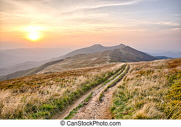 Sunset in carpathian mountains - Bieszczady - part of...