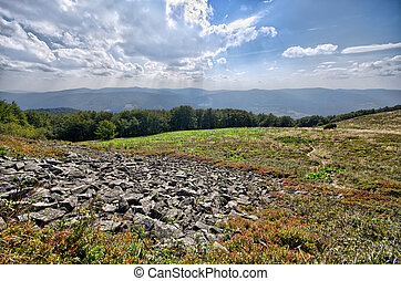 Lot of rocks in Carpathians mountains