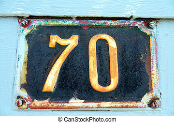 Number 70 - House address plate number 70